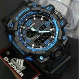 Toko D Ziner Dual Time Dz2113 Jam Tangan Pria Rubber Strap Black Blue Lengkap
