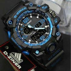 Diskon D Ziner Dual Time Dz2113 Jam Tangan Pria Rubber Strap Black Blue Branded