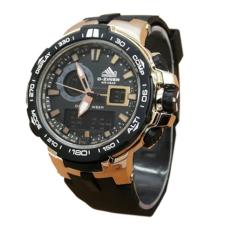D-ziner Dual Time - Jam Tangan Pria - Hitam-Gold - Rubber Strap