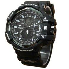 Jual D Ziner Dual Time Jam Tangan Pria Hitam List Putih Rubber Strap Dz405Hp Online