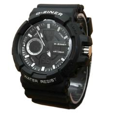 D-ziner Dual Time - Jam Tangan Pria - Hitam List Putih - Rubber Strap - Dz409Hp