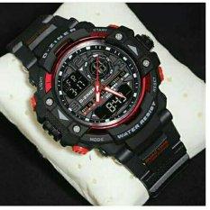 Diskon D Ziner Dz3456 Dual Time Jam Tangan Pria Rubber Strap Hitam Merah D Ziner