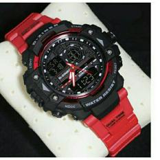 Beli D Ziner Dz7474 Dual Time Jam Tangan Pria Rubber Strap Merah Hitam Murah