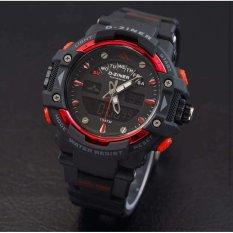 Toko D Ziner Dz9961 Dual Time Jam Tangan Pria Rubber Strap Hitam Merah Murah Di Dki Jakarta