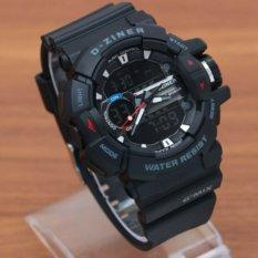 Toko D Ziner Jam Tangan Pria Dual Time Rubber Strap Hitam Dz 7001 H D Ziner Online