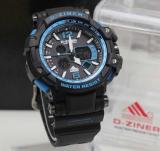 Beli D Ziner Jam Tangan Pria Original Dual Time Rubber Strap Black Blue Dz 8090 Bb Secara Angsuran