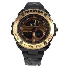 Harga D Ziner Jam Tangan Pria Stainlesstel Dz875Bfg Black Gold New
