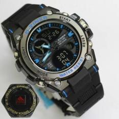 Jual D Ziner Jam Tangan Sport Dual Time 8139 Black Blue Di Bawah Harga