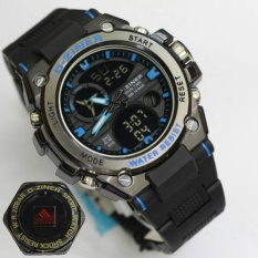 D Ziner Jam Tangan Sport Dual Time 8139 Black Blue Original