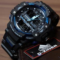 Cara Beli D Ziner Jam Tangan Sport Dual Time Pria 1104B Black Blue