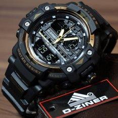 Jual D Ziner Jam Tangan Sport Dual Time Pria 1104B Black Gold Original