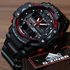 D-ziner Jam Tangan Sport  Dual Time Pria - 1104B - Black Red