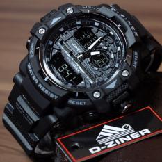 D-ziner Jam Tangan Sport  Dual Time Pria - 1104B - Black White