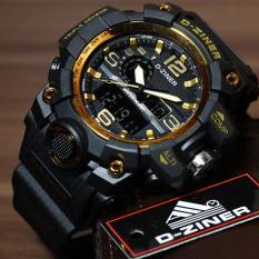 D Ziner Jam Tangan Sport Dual Time Pria Dz1304B Black Gold Indonesia Diskon 50