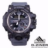 Jual D Ziner Jam Tangan Sport Olahraga Dual Time Dz 8119 Abu Abu Ori