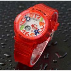 Toko D Ziner Jam Tangan Wanita Dual Time Rubber Strap Merah Transparan Dz 3535 Lengkap Dki Jakarta
