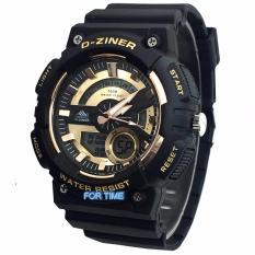 Review Toko D Ziner Original Dz 8156M Jam Tangan Pria Dual Time Strap Karet Hitam Gold Online