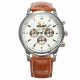 Dalas Baru Fashion Pria Bergaya Putih Dial Silver Case Analog Quartz Sport Brown Leather Dress Cool Wrist Watch Waa690 Jam Tangan Pria Kulit Intl Terbaru