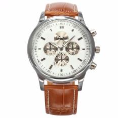 Harga Dalas Baru Fashion Pria Bergaya Putih Dial Silver Case Analog Quartz Sport Brown Leather Dress Cool Wrist Watch Waa690 Jam Tangan Pria Kulit Intl Branded