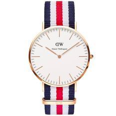 Daniel Wellington 0502DW Jam Tangan Wanita Classic Canterbury 36MM Men Women Nylon Watch - Blue Red