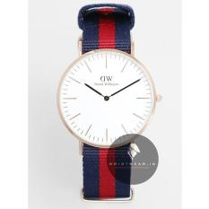 Daniel Wellington Classic Oxford 40mm Rose Gold Case - Jam Tangan Pria/Laki-Laki - Strap Nylon Navy Merah Rose Gold Ring