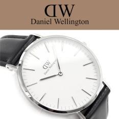Daniel Wellington Classic Sheffield 40mm Silver Case - Jam Tangan Pria/Laki-Laki - Hitam Kulit Silver Ring