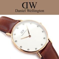 Harga Daniel Wellington Classy St Mawes 34Mm Rose Gold Swarovski Crystal Jam Tangan Wanita Perempuan Cokelat Muda Kulit Strap Rose Gold Ring Daniel Wellington Terbaik