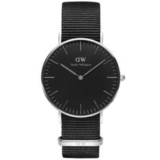 Harga Daniel Wellington Dw00100151 Jam Tangan Pria Wanita Black Cornwall Horloge 36Mm Men Women Genuine Nylon Watch Black Silver New