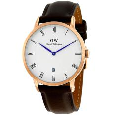 Daniel Wellington Jam Tanga Pria Wanita Strap Kulit 1103DW Dapper Rose Gold Dial Men Women Leather