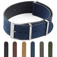 DASSARI Royal Nubuck Suede NATO Strap Watch Band Di 18mm 20mm 22mm 24mm, Biru, 24mm-Intl