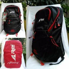 Daypack / Tas Ransel Laptop Black Red 25L - Rei - 70Re599 + Rain Cover