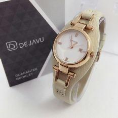 Dejavu DJ5007 Original Watch - Jam Tangan Fashion Wanita - Leather strap - RoseGold Putih