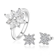 Delicate Party Jewelry Romantic Ring And Earrings Sets S750 - intl