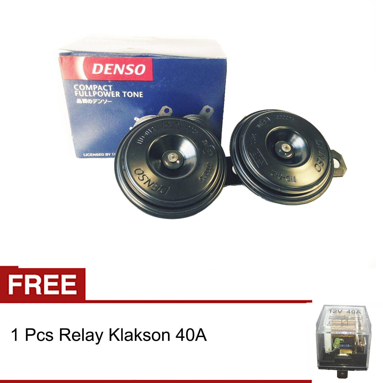 Denso Klakson Disc 12v Full Power Tone Tin Tin Tin + Gratis Relay Klakson 40a By