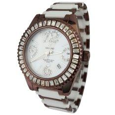 Devond DDL7145-T Jam Tangan Wanita Strap Ceramic Putih Coklat