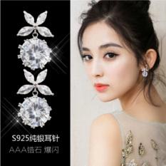 Review Toko Dewi S925 Korea Fashion Style Busur Zirkon Jarum Hypoallergenic Anting Anting Perak Sterling Anting