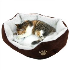Di Dalam 45*35 CM Super Cute Cat Lembut Tidur Rumah Musim Dingin For Kucing Hangat Kapas Anjing PET Produk Mini Puppy Pet Dog Bed Lembut Nyaman PET Sofa (Coffe)