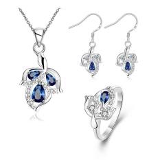 Diamond Perhiasan Online Zircon Women Romantis Pesta Earrings Cincin Kalung Tembaga Bridal Perhiasan Set Emas Disepuh Tanaman-Intl