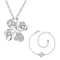 Diamond Perhiasan Online Zircon Women Pesta Trendi Kalung Anklet Tembaga Bridal Perhiasan Set Emas Disepuh Tanaman-Intl