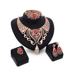 Berlian Perhiasan 4 Pcs Set Paduan Desain Merek Perhiasan untuk Wanita, China Gold Berlapis Kristal Pengantin Platinum Berlian Buatan Pesta Makan malam Kalung Anting Rantai Lingkaran Gelang-Internasional