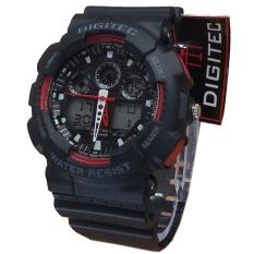 Jual Digitec Dg2011T Dualtime Jam Tangan Pria Rubber Strap Hitam List Merah Di Bawah Harga