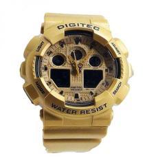 Promo Digitec Dual Time Jam Tanagn Sport Pria Rubber Strap Dg 2081 Gold