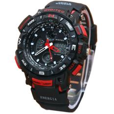 Beli Digitec Dual Time Jam Tangan Pria Hitam List Merah Rubber Strap Dg2044Hm Jawa Barat