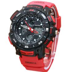 Beli Digitec Dual Time Jam Tangan Pria Merah Hitam Rubber Strap Dg2044Mh Terbaru