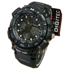 Jual Digitec Dual Time Jam Tangan Sport Pria Rubber Strap Dg 2044 Black White Branded Original