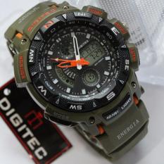 Miliki Segera Digitec Jam Tangan Sport Energia Dual Time Alarm Stopwacth Hari Tanggal Hijau Army