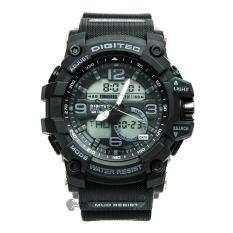 Digitec Men's - Jam Tangan Pria - DG 2102 Hiitam - Strap Karet - Dual Time