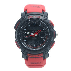 Digitec Men's - Jam Tangan Pria - DG 2023 Hitam Tali Merah   - Strap Karet - Dual Time