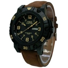 Digitec Neo  - Jam Tangan Pria - Strap Leather - Coklat List Kuning - N1104-TH
