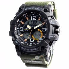 Spesifikasi Digitec Original Dg2102M Jam Tangan Pria Dual Time Strap Karet Hijau Army Terbaik